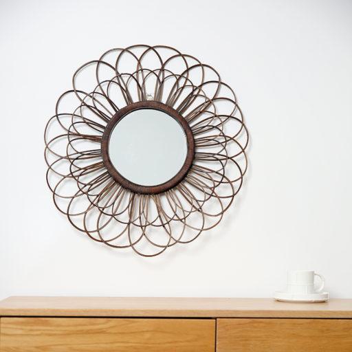 Round Rattan Mirror Looped Weave